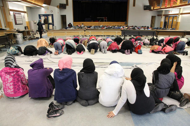 Muslims at prayer Valley Park Middle School cafeteria